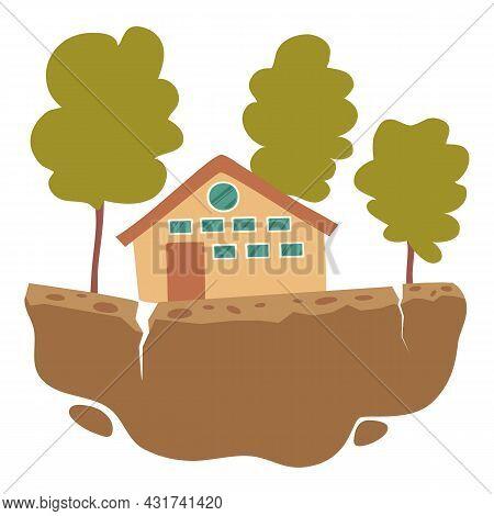 Home Earthquake Icon Cartoon Vector. House Disaster. Crack Damage