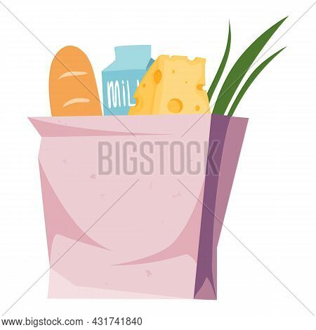 Food Paper Bag Icon Cartoon Vector. Grocery Supermarket Buy. Market Food Paper