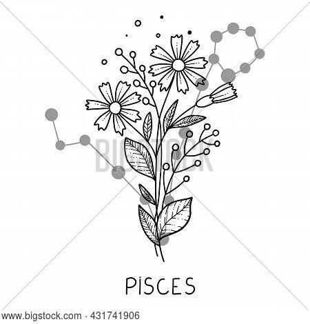 Pisces Horoscope Flower Icon Outline Vector. Zodiac Sign Astrology. Tattoo Horoscope Flower