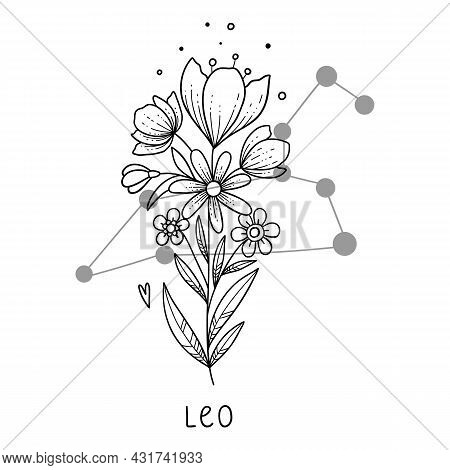 Horoscope Flower Icon Outline Vector. Zodiac Sign Astrology. Tattoo Horoscope Flower