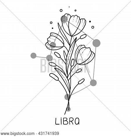 Libra Horoscope Flower Icon Outline Vector. Zodiac Sign Astrology. Tattoo Horoscope Flower