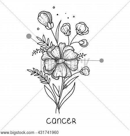 Cancer Horoscope Flower Icon Outline Vector. Zodiac Sign Astrology. Tattoo Horoscope Flower
