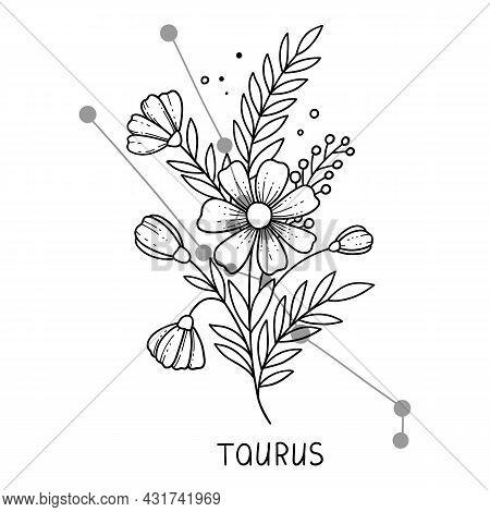 Taurus Horoscope Flower Icon Outline Vector. Zodiac Sign Astrology. Tattoo Horoscope Flower