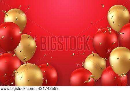 Elegant Luxury Golden Red Ballon And Party Popper Ribbon Happy Birthday Celebration Card Banner Temp