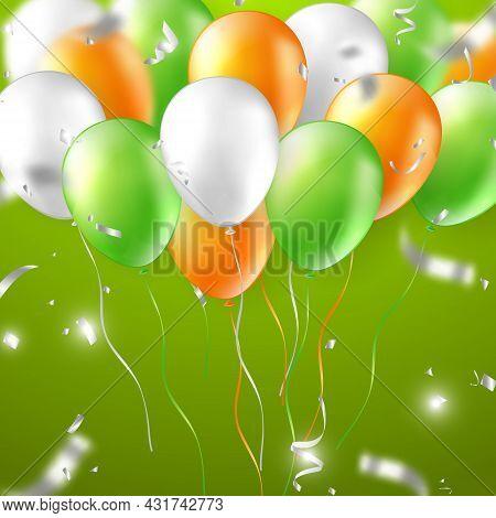 Elegant 3d Realistic Vibrant Orange Green Silver White Ballon And Party Popper Ribbon Happy Birthday