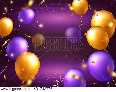 Elegant Golden Yellow Purple Ballon And Party Popper Ribbon Perspective Background Happy Birthday Ce