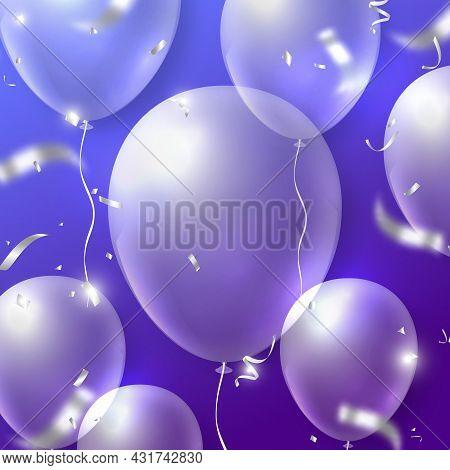 Elegant 3d Realistic Transparent Ballon And Party Popper Silver Ribbon Happy Birthday Celebration Ca