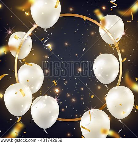 Luxury Elegant Silver White Ballon Round Golden Frame And Party Popper Ribbon Happy Birthday Celebra