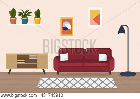 Modern Living Room Interior. Comfortable Red Sofa, Lamp, Carpet, Wooden Furniture And House Plants.