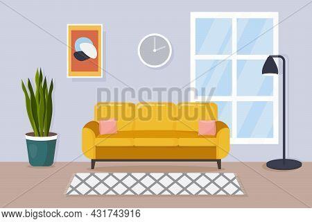 Modern Living Room Interior. Comfortable Yellow Sofa, Lamp, Carpet, Window And House Plants. Flat St