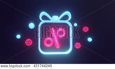 Neon Discount On Black Friday Or Cyber Monday. The Percentage Inside The Gift. With Flying Spheres O
