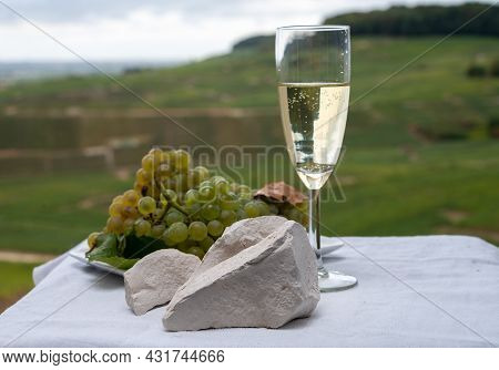 White Chalk Stones From Cote Des Blancs Near Epernay, Region Champagne, France, Glass Of Blanc De Bl