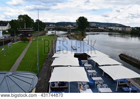 Koblenz, Germany - August 10th 2021: Ship In The River Lock Koblenz
