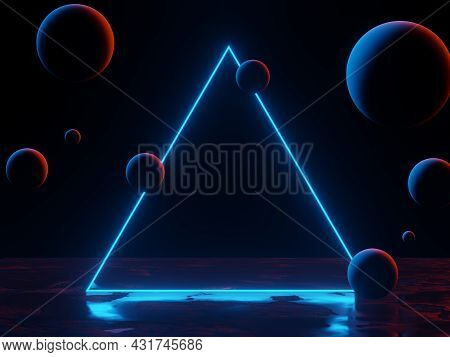 3d Render Of Rgb Neon Light On Darkness Background. Abstract Laser Lines Show At Night. Ultraviolet