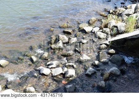 Small River Ending Into The Rhine With Drifted Rocks