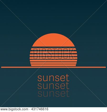 Abstract Orange And Blue Sunset Icon, Vector Illustration