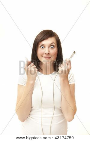 Young Woman With Suprised Face Holding Usb Cabels On White Background