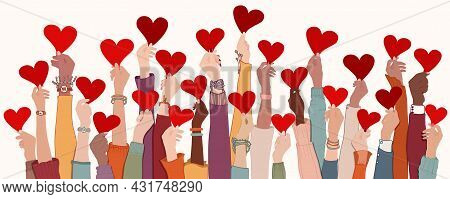 Group Of Raised Arms And Hands. Diverse People Holding A Heart. Charitable Donation And Volunteer Wo