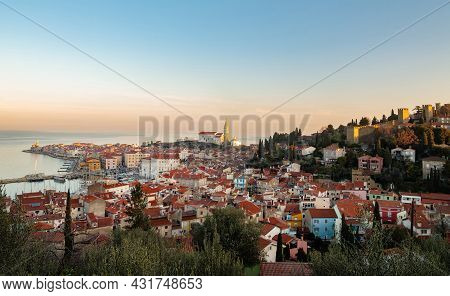 Panoramic View Of Old Coastal Town Piran In Slovenia
