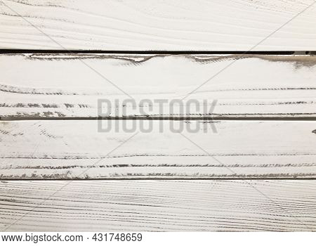 White Board Wall With Wood Grain Texture Background, Distressed Vintage Barn Wood With Peeling White