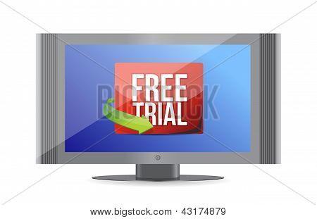 Free Trial Arrow Label On Screen