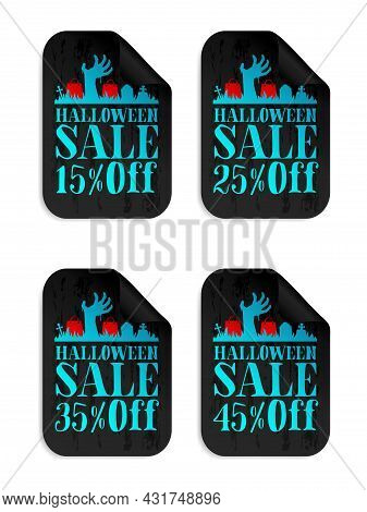 Halloween Black Sale Stickers Set With Zombie Hand. Halloween Sale 15%, 25%, 35%, 45% Off. Vector Il