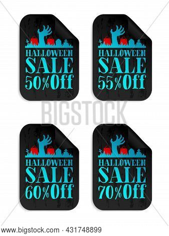Halloween Black Sale Stickers Set With Zombie Hand. Halloween Sale 50%, 55%, 60%, 70% Off. Vector Il