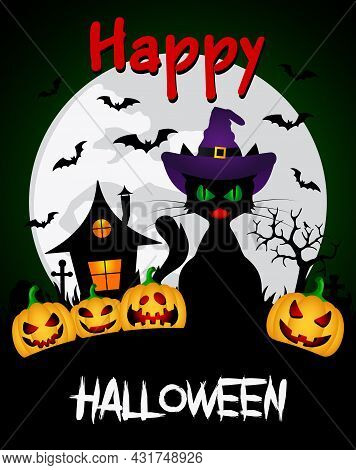 Happy Halloween Graphic Design. Halloween Background With Funny Pumpkins And Witch's House, Hallowee