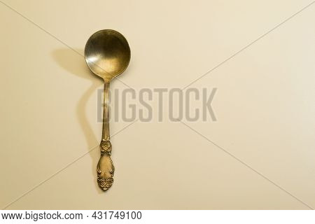 Old Shabby Spoon With Interesting Floral Ornament On The Handle Cupronickel