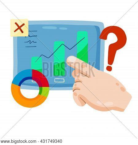 Business Schedule Analytics. Hand Point To Marketing And Statistics. Cartoon Infographic. Flat Illus