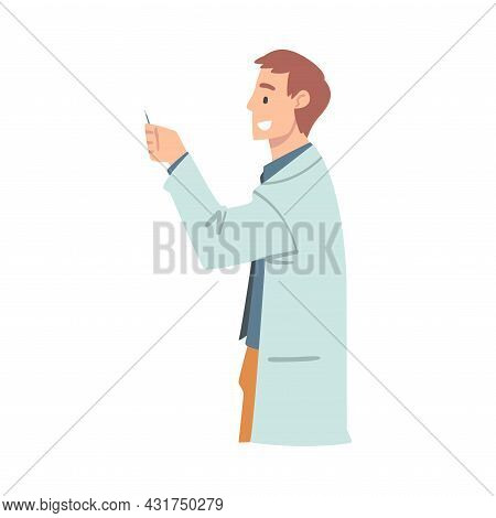 Man With Cotton Bud As Medical Doctor Or Physician Conducting Patient Checkup At Hospital Vector Ill