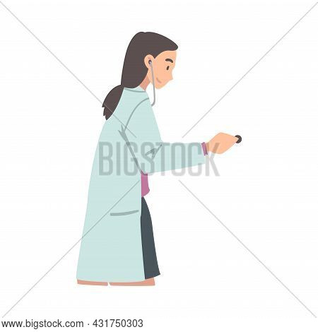 Female With Stethoscope As Medical Doctor Or Physician Working At Hospital Vector Illustration