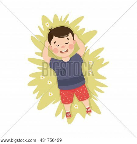 Little Boy In His Childhood Lying On Green Lawn Daydreaming Vector Illustration