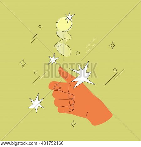 Hand Flips Or Toss Coin Vector Illustration Isolated On A Green Background. Contemporary Comic Desig