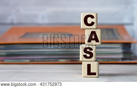 Casl (chartered Advisor For Senior Living) - Acronym On Wooden Cubes On The Background Of A Folder W