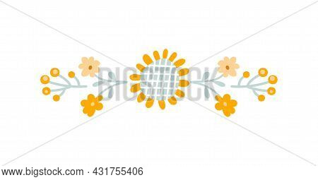 Vector Baby Floral Summer Divider Banner, Pastel Kids Color Sunflower And Wildflowers. Scandinavian