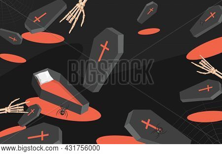 Trick Or Treat Halloween Party Backdrop. Coffins, Spiders, And Skeletons Hands Vector Flat Cartoon I