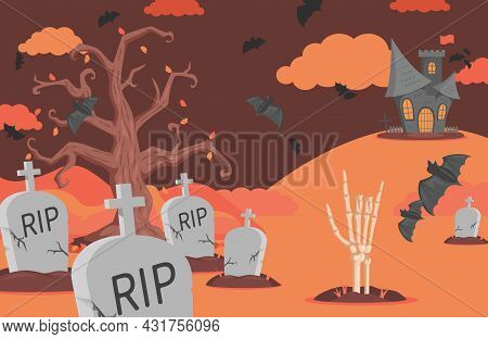Halloween Banner Background With Gravestones, Bats, Scary Castle, Clouds, And Skeleton Hand Vector F
