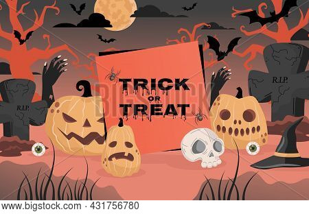 Trick Or Treat Halloween Party Poster Design With Space For Text. Gravestones, Scary Trees, Witch Ha