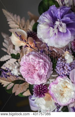Beautiful Bouquet Of Purple Roses On A Dark Background, Soft And Romantic. Still Life With A Flowers