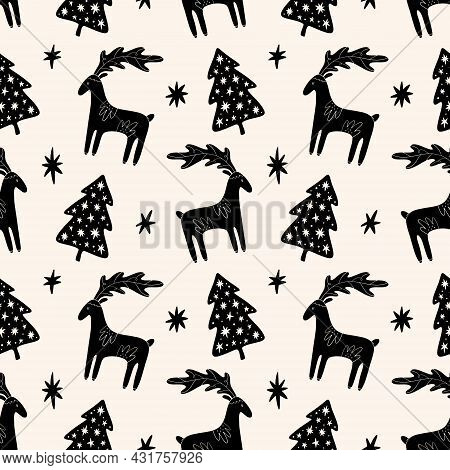 Christmas Tree Elm And Deer Simple Scandi Seamless Pattern Design. Graphic Trees Shapes, Minimal Noe