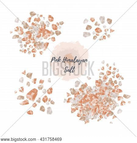 Pink Himalayan Salt Isolated On White Background Digital Watercolor Illustration. Heap, Pile, Scatte