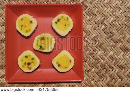 Indian Sweet Dish Tutti Fruity Barfi Rolls. With Tutti Frutti Kesar Flavour. Basically Made Of Milk