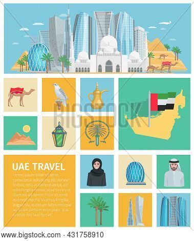 United Arab Emirates Decorative Icons Set With Traditional Clothes And Travel Symbols Of Country Iso