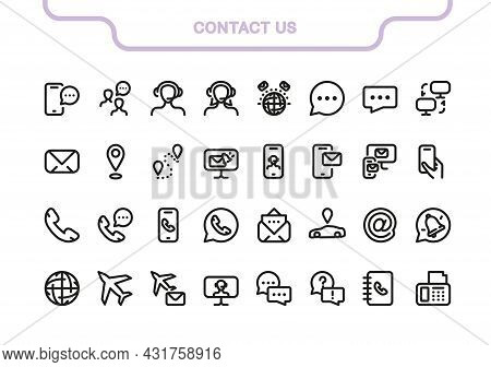Simple Vector Icon Line Set. Contact Us Elements Collection: Mail, Notepad, Operator, Office, Fax, C