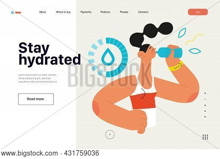 Runner - Hydration, A Young Woman Drinking Water, Website Template