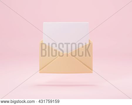 Opened Mail Envelope With Paper Inside Isolated On Pastel Pink Background. 3d Render Of New E-mail M