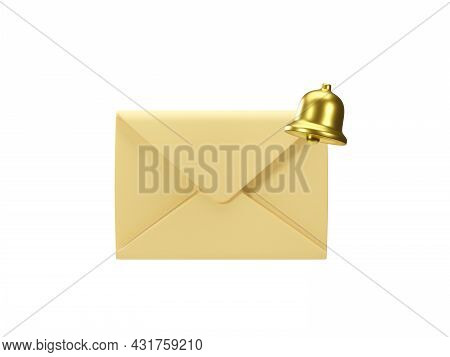 Mail Envelope With Golden Notification Bell Isolated On White Background. 3d Render Of New E-mail Me