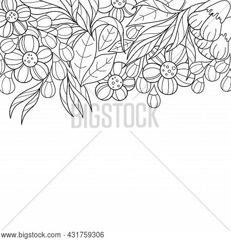 Beautiful Contoured Floral Background. Black And White Pattern Of Leaves And Flowers, Stylized Desig