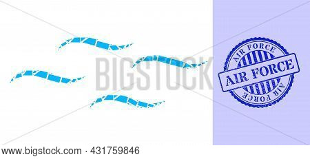 Debris Mosaic Air Icon, And Blue Round Air Force Textured Stamp Seal With Word Inside Round Shape. A